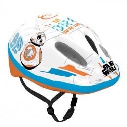 Casque Velo Enfant Disney V2 Starwars Blanc-Bleu-Orange Avec Molette Reglage Taille 54-58 (Vendu Sur Carte)