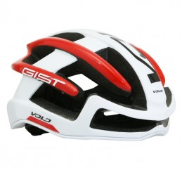 Casque Velo Adulte Gist Route Volo Blanc-Rouge Brillant Full In-Mold Taille 52-56 Reglage Molette 210Grs
