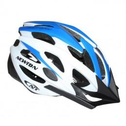 Casque Velo Adulte Newton Route-Vtt Victory Bleu-Blanc Taille 55-58 Avec Visiere Et Lock (Vendu En Boite)