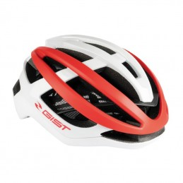 Casque Velo Adulte Gist Route Sonar Blanc-Rouge Full In-Mold Taille 58-63 Reglage Molette Bmx Race