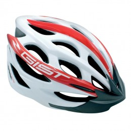 Casque Velo Adulte Gist Route-Vtt Faster Blanc-Rouge In-Mold Taille 47-52 Reglage Molette 240 G Bmx Race