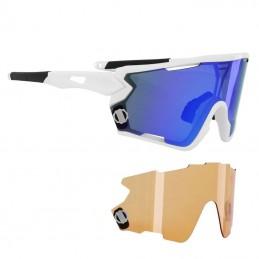 Lunettes Velo Adulte Newton Nagas Monture Blanc 2 Verres Interchangeables Solaire Bleu Et Eclairant Orange Bmx Race