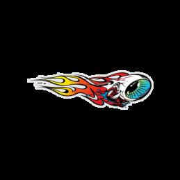 Stickers Flaming Eyeball Red/Yellow 4''x1.2'' Bmx Race
