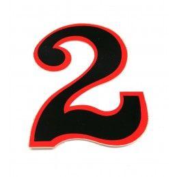 Numéro autocollant - noir/rouge