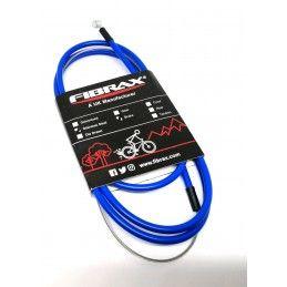 Transmission dérailleur Fibrax FCG inox avec embouts de gaine- Bleu