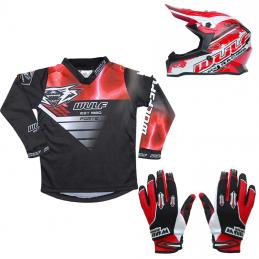 Pack Débutant équipement BMX Enfant - Casque + Gants + Maillot - Rouge Bmx Race