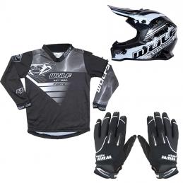 Pack Débutant équipement BMX Enfant - Casque + Gants + Maillot - Noir Bmx Race