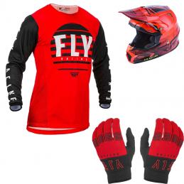 Pack intermédiaire équipement BMX enfant - Casque + Gants + Maillot - Rouge Bmx Race