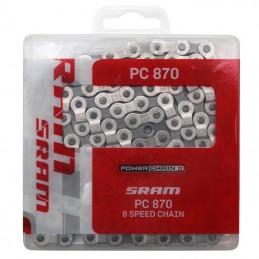 Chaine Velo  7-8 vitesses Sram Pc-870 Argent-Gris