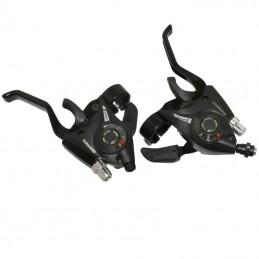 Levier-Manette Vtt P2R 3X8 vitesses Noir Alu Pour Frein V-Brake Compatible Shimano (Paire) Bmx Race