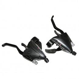 Levier-Manette Vtt P2R 3X8 vitesses Noir Alu Azera Pour Frein V-Brake Compatible Shimano (Paire) Bmx Race