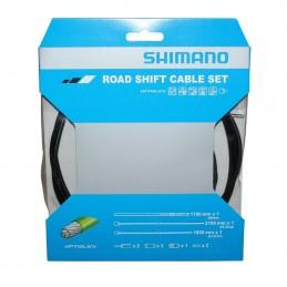 Transmission Derailleur Shimano Noire-Cable Optislik (Kit Transmission 2Cables-2 Gaines)