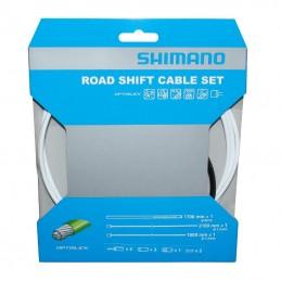 Transmission Derailleur Shimano Blanc-Cable Optislik (Kit Transmission 2Cables-2 Gaines)