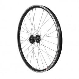 """Roue Vtt 24"""" Avant Kargo Disc Vae-E-Bike Alu Double Paroi Moyeu Shimano M475 Disc 6 Trous Noire Blocage (Renforce) Rayon Inox"""