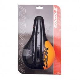 Selle Newton Enfant Rav Noir Deco Orange 210X130Mm Avec Trou Central Rail Acier Noir